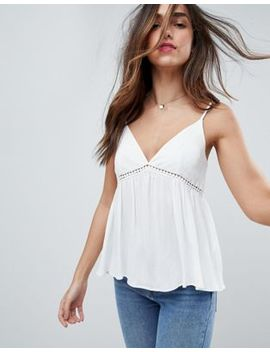 Asos Crinkle Cami With Lace Insert by Asos Collection