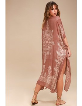Exotic Sol Tan And Terra Cotta Print Kimono by Lulu's
