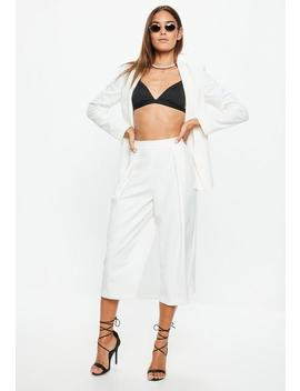 White Pleat Front Culottes by Missguided