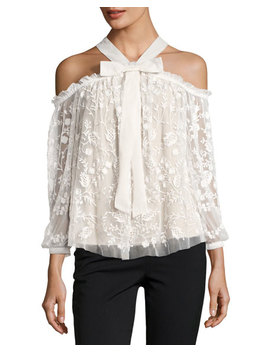 Primrose Cold Shoulder Floral Tulle Top, White by Neiman Marcus