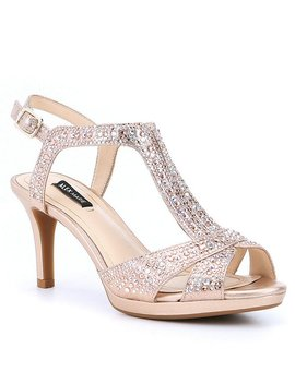 Gianella Jeweled Metallic Fabric Dress Sandals by Alex Marie