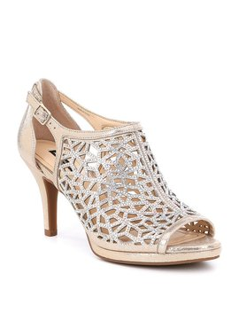 Alex Marie Lanie Metallic Leather Rhinestone Detail Cutout Pattern Dress Pumps by Alex Marie