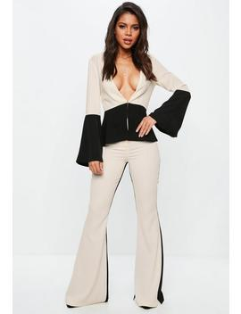 Cream Contrast Kick Flare Pants by Missguided
