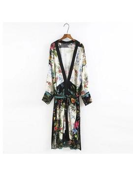2017 Ethnic Leaves Flower Print With Sashes Kimono Shirt Retro New Bandage Long Cardigan Blouse Tops Blusas Chemise Femme Blusa by Sexy Lady Fashion World Co.,Ltd