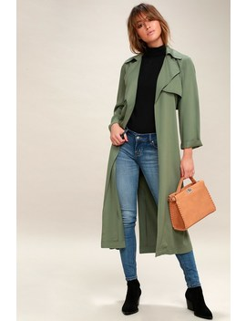Downtown Washed Olive Green Trench Coat by Lulus