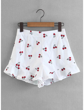Cherry Print Ruffle Hem Shorts by Sheinside