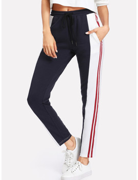 Cut And Sew Drawstring Sweatpants by Shein