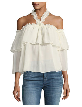 Galle Off The Shoulder Ruffled Chiffon Top by Neiman Marcus