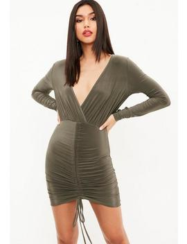Khaki Slinky Channel Ruched Front Plunge Dress by Missguided
