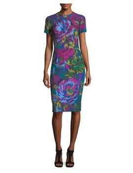 Fractured Floral Short Sleeve Sheath Dress by David Meister