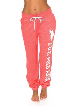 U.S. Polo Assn. Us Polo Assn. Women's Printed French Terry Boyfriend Fitted Jogger Lounge Sweatpants by U.S. Polo Assn.