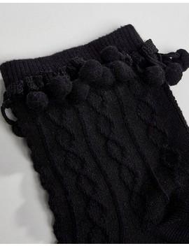 Asos Design Pom Pom Ankle Socks In Black by Asos Design