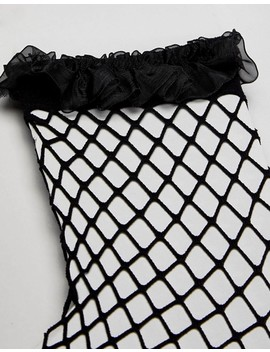 Asos Design Fishnet Sock With Organza Frill by Asos Design