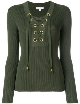Lace Up Ribbed Sweater by Michael Michael Kors
