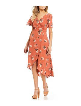 Floral Printed Faux Wrap Dress by June &Amp; Hudson