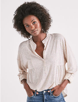 Gauze Mix Long Sleeve Henley Top by Lucky Brand