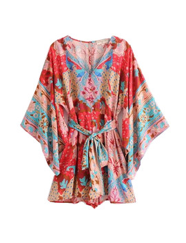 Bohemian Flower Peacock Print Open Buttons V Neck Jumpsuit New Women With Sashes Bat Sleeve Short Pants Romper Overalls Red by Ali Express