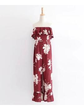 Bohe Strapless Elastic Slash Neck Flower Print Jumpsuit 2018 Women Off Shoulder Sleeveless Ruffles Long Pants Romper Overalls by Ali Express