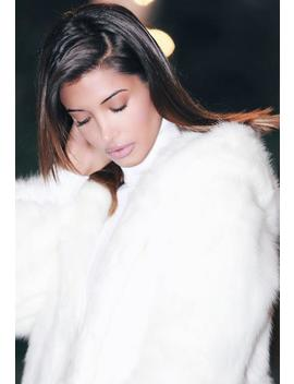 White Faux Fur Hooded Coat by Missguided