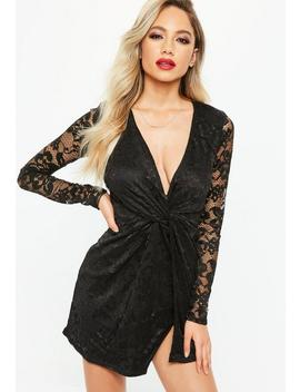 Black Lace Twist Front Dress by Missguided