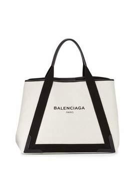 Navy Cabas Medium Canvas Tote Bag by Neiman Marcus