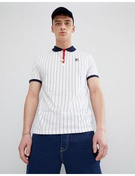 Fila Vintage Striped Polo Shirt In White by Fila