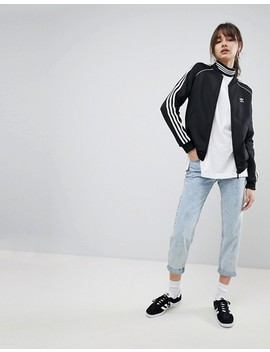 Adidas Originals Adicolor Three Stripe Track Jacket In Black by Adidas
