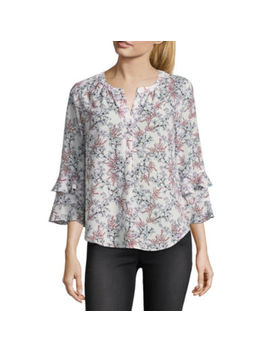 Liz Claiborne 3/4 Ruffled Bell Sleeve Floral Blouse by Liz Claiborne