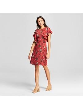 Women's Floral Cascade Sleeve Mini Dress   Éclair Red by Eclair