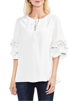 Ruffle Sleeve Tie Neck Blouse by Vince Camuto