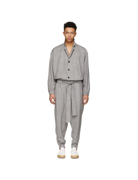 Grey Wool Jumpsuit by Issey Miyake Men