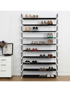 10 Tier Shoe Rack 50 Pairs Plastic Shoe Shelf Stand Organizer With Non Woven Fabric, Black by Housen Solutions