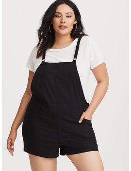 Black Stretch Linen Shortall by Torrid