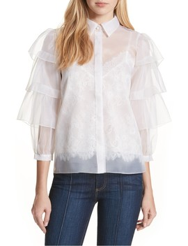 Mary Alice Tiered Sleeve Silk Blouse by Alice + Olivia
