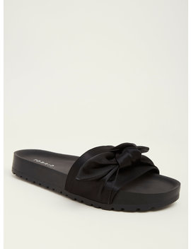 Black Satin Bow Pool Slides (Wide Width) by Torrid