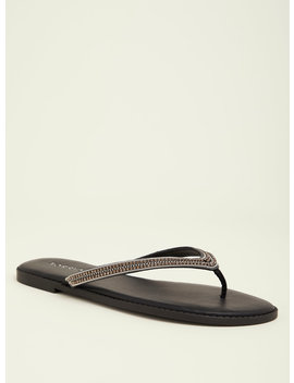 Black Chain And Rhinestone Flip Flops (Wide Width) by Torrid