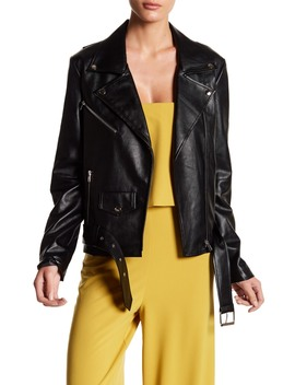 Faux Leather Jacket With Waist Belt by Do + Be