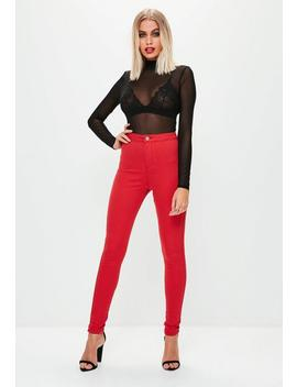 Red Vice High Waisted Skinny Jeans by Missguided