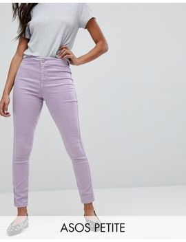 Asos Petite Rivington High Waisted Denim Jegging In Lilac by Asos Collection
