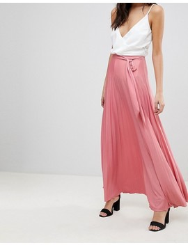 Asos Pleated Maxi Skirt With Belt by Asos Collection