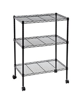 Songmics 3 Tier Shelving Unit Small Microwave Cart Rolling Storage Rack Black Ulss03 P by Songmics