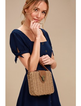 Brookhaven Tan Woven Basket Purse by Lulus