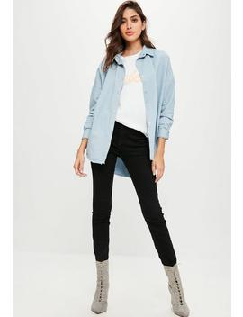 Blue Oversized Washed Denim Shirt by Missguided