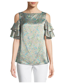 Layla Lily Print Cold Shoulder Silk Top by Lafayette 148 New York