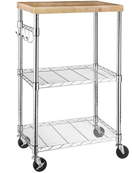 Amazon Basics Microwave Cart On Wheels, Wood/Chrome by Amazon Basics