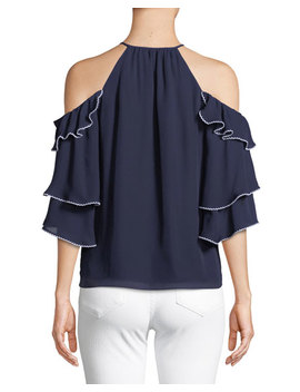 Cindy Cold Shoulder Ruffled Silk Top by Parker