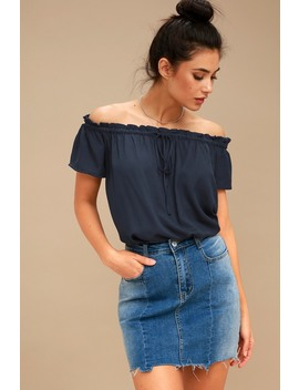 Portrait Painter Navy Blue Off The Shoulder Top by Lulus