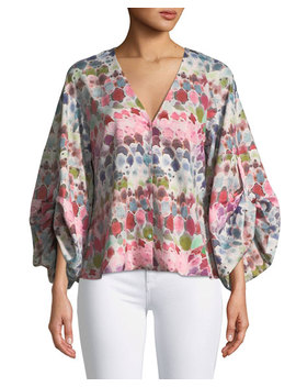 Charlie V Neck Watercolor Print Silk Crepe Top by Alexis