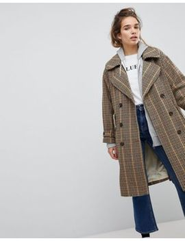 Pull&Bear Check Print Trench Mac by Pull&Bear