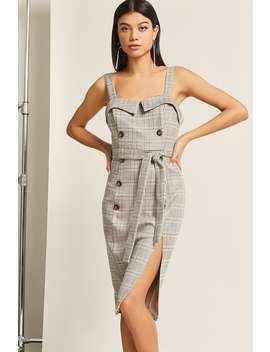 Glen Check Double Breasted Midi Dress by F21 Contemporary